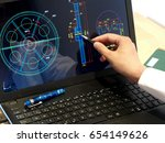 engineer working on computer on ... | Shutterstock . vector #654149626
