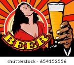 sensual lady and beer glass....   Shutterstock .eps vector #654153556