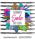 summer sale background with... | Shutterstock .eps vector #654155902