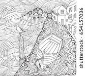 seaside promenade. wooden boat... | Shutterstock .eps vector #654157036