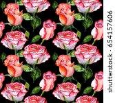 wildflower rose flower pattern... | Shutterstock . vector #654157606