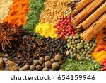 colorful and aromatic spices... | Shutterstock . vector #654159946