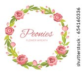 flower wreath of peonies.... | Shutterstock .eps vector #654160336