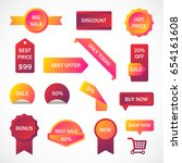 vector stickers  price tag ... | Shutterstock .eps vector #654161608