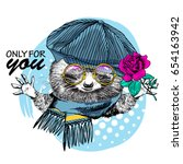 vector raccoon with cap  rose...