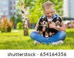 little girl with a berner...   Shutterstock . vector #654164356