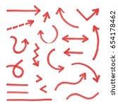 hand drawn arrow set red ... | Shutterstock .eps vector #654178462