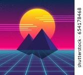 synthwave retro design ... | Shutterstock .eps vector #654178468