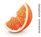 ripe wedge of blood red orange... | Shutterstock . vector #654185362