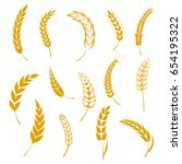set of simple wheats ears icons ... | Shutterstock .eps vector #654195322