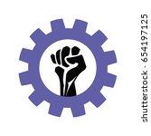 fist in gear  icon vector  ... | Shutterstock .eps vector #654197125