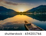 sunrise view of a dal lake... | Shutterstock . vector #654201766