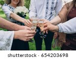 drinking champagne on ukrainian ... | Shutterstock . vector #654203698