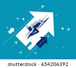 growth. businessman flying and... | Shutterstock .eps vector #654206392