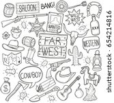 Western Cowboy Doodle Icons...