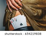 sexy lady in golden color dress ... | Shutterstock . vector #654219838