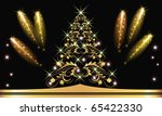 christmas golden fur tree with... | Shutterstock .eps vector #65422330