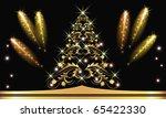 christmas golden fur tree with... | Shutterstock .eps vector #65422330