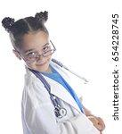 an elementary girl playing... | Shutterstock . vector #654228745
