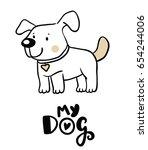 cute dog illustration | Shutterstock .eps vector #654244006