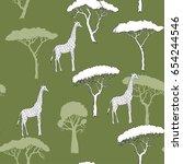 seamless pattern with giraffe... | Shutterstock . vector #654244546