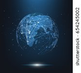 global network connection.... | Shutterstock .eps vector #654245002