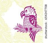cute cartoon parrot. vector... | Shutterstock .eps vector #654247708