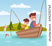 fishing cartoon illustration... | Shutterstock .eps vector #654250765