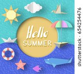 hello summer paper applique... | Shutterstock .eps vector #654254476