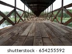 old wood bridge. in banlook ... | Shutterstock . vector #654255592
