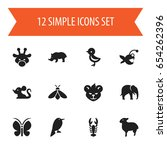 set of 12 editable zoo icons....