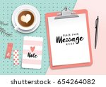 set of stationery and clipboard ... | Shutterstock .eps vector #654264082