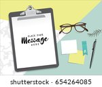 set of stationery and clipboard ... | Shutterstock .eps vector #654264085