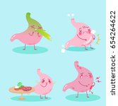 cute cartoon stomach with... | Shutterstock .eps vector #654264622