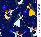 dancing couples on stars... | Shutterstock .eps vector #654264832