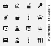 set of 16 editable travel icons.... | Shutterstock .eps vector #654265846