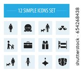 set of 12 editable family icons....