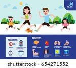 caucasian family jogging.... | Shutterstock .eps vector #654271552