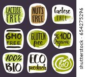 organic food hand drawn labels... | Shutterstock .eps vector #654275296