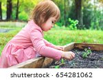 happy toddler girl playing in... | Shutterstock . vector #654281062