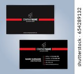 business card template. red and ...   Shutterstock .eps vector #654289132