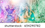 holi fest young friends party... | Shutterstock . vector #654290782