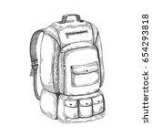 camping backpack. vector sketch ... | Shutterstock .eps vector #654293818