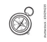 compass. vector sketch objects... | Shutterstock .eps vector #654294235