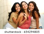 portrait of hispanic friends... | Shutterstock . vector #654294805