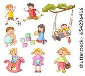 children little boys girls... | Shutterstock .eps vector #654296416