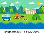 summer illustration. camping.   Shutterstock .eps vector #654299098