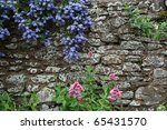Flowers Growing On A Wall In...