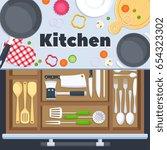 kitchen design vector... | Shutterstock .eps vector #654323302