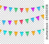 buntings garlands isolated on... | Shutterstock .eps vector #654330358